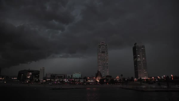 Timelapse of a lightning storm over Barcelona Royalty-free stock video