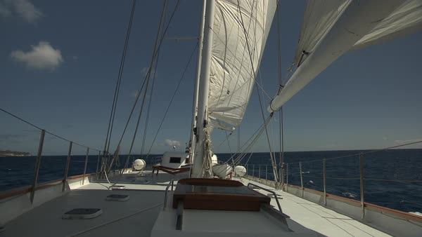 Hand-held shot of deck of a sailboat Rights-managed stock video