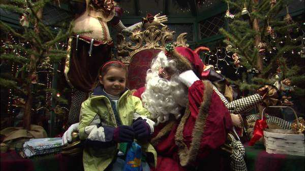 Static shot view of a girl sitting on Santa Claus lap Rights-managed stock video