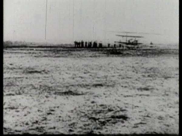 Montage of first filmed flight of Wright Brothers Rights-managed stock video