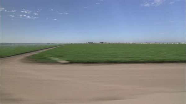 Moving point-of-view from car window of green fields Rights-managed stock video