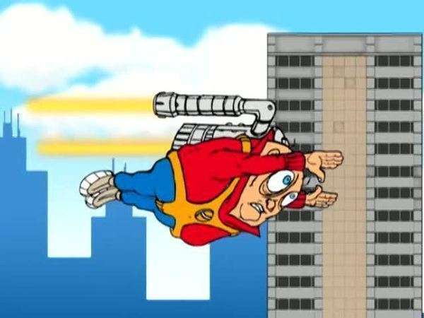 Cartoon of a man flying with a jet pack Rights-managed stock video