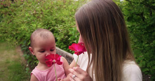 Mother with baby and flower, laughing Royalty-free stock video