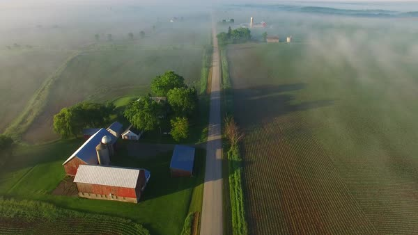 Perfectly scenic aerial view of rural Wisconsin on a foggy spring morning. Royalty-free stock video