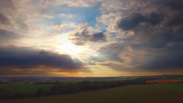 Panning across amazing sunrise sky panorama, moving aerial view. Royalty-free stock video