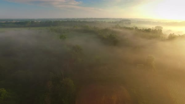 Amazingly beautiful rural landscape under morning fog, aerial view. Royalty-free stock video