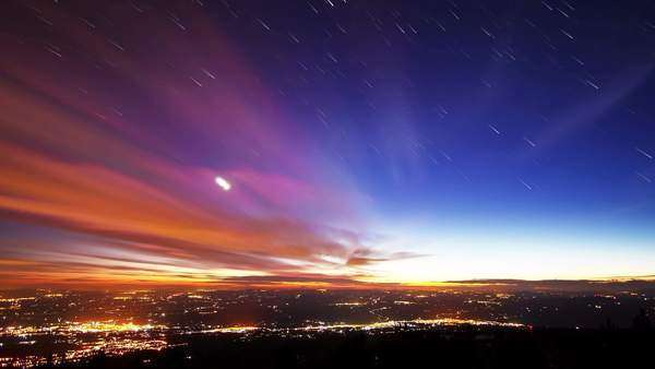 Star lights should leave traces of cities. Timelapse Royalty-free stock video