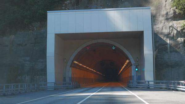 Tunnel on the road Adler - Alpika-service resort, Sochi, Russia. Royalty-free stock video