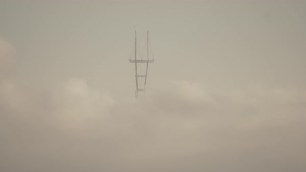 Hand-held shot of the Sutro Tower in fog Royalty-free stock video