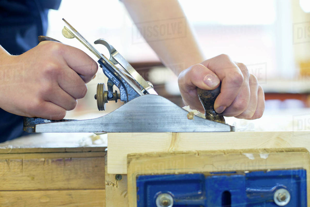 Close Up High School Student Using Wood Plane Tool In Woodworking D1230 21 181