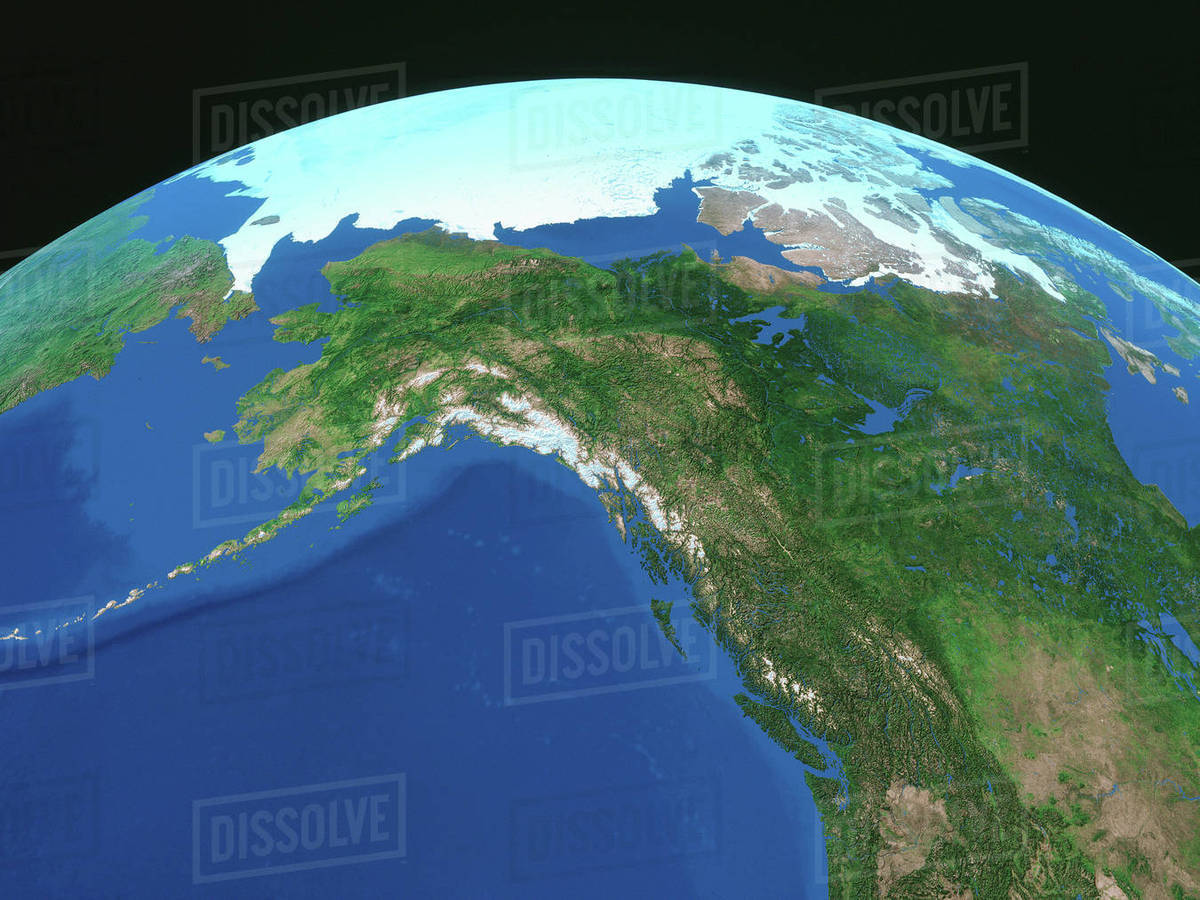 Map Of Alaska and The Arctic With Curvature Of The Earth, digital Image  stock photo
