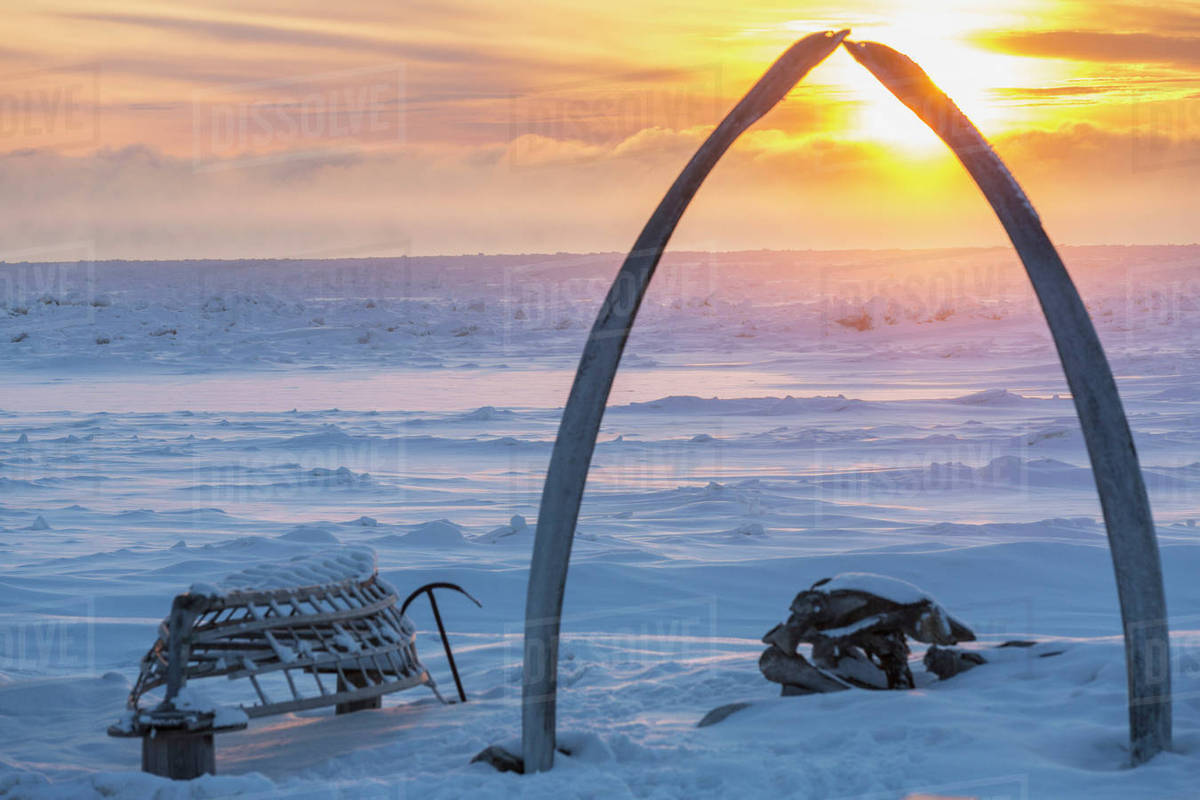 Whalebone Arch Frames The Setting Sun At The Shore Of The Arctic ...