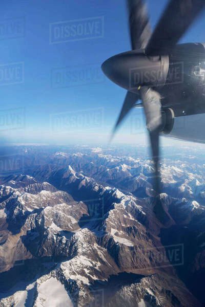 Aerial View Of The Tordillo Mountains From A Propeller Commercial Airplane, Southcentral Alaska, USA, Summer Rights-managed stock photo