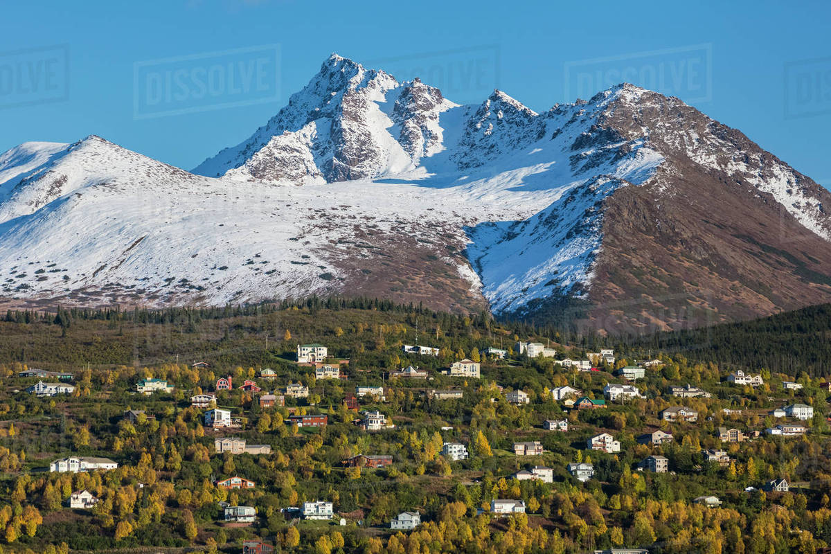 aerial view of the hillside neighborhood with the chugach mountains