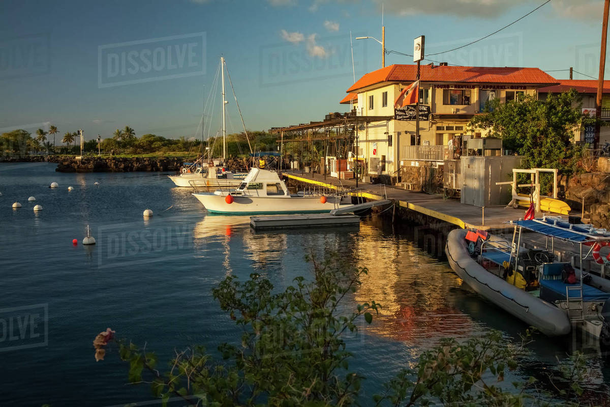 Fishing boats in Honokohau Harbor; Kailua-Kona, Island of Hawaii ...