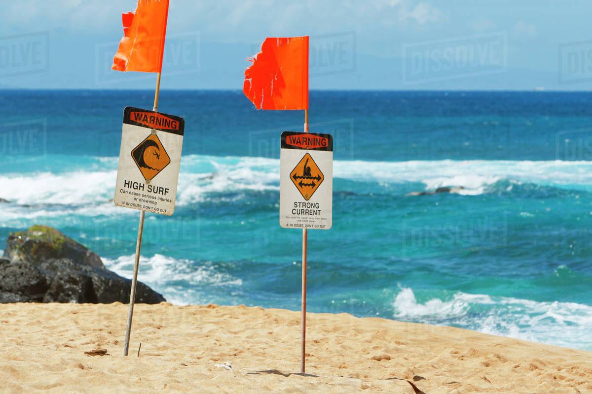 Hawaii, Maui, Ho'okipa, High Surf Advisory Warning Signs On The Beach stock  photo
