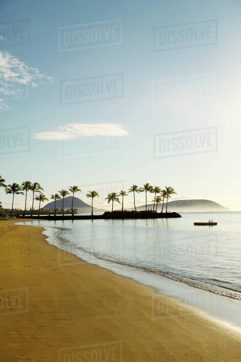 Hawaii Oahu Kahala Beach Early Morning Light At An Empty Sline