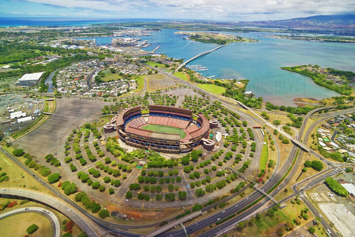 Hawaii, Oahu, Aerial Shot Of Aloha Stadium  stock photo