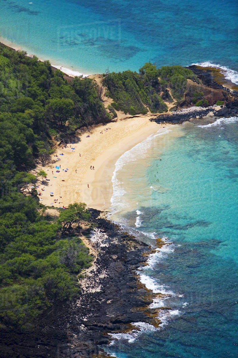 Hawaii, Maui, Makena, Aerial Of Little Beach, Clothing