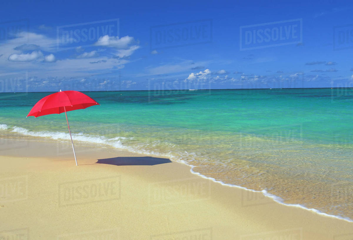 Beach Umbrella In Sline Water Calm Turquoise Waters