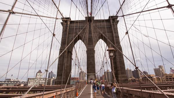 POV shot moving along the pedestrian walkway on the Brooklyn Bridge, New York City, New York, USA Royalty-free stock video