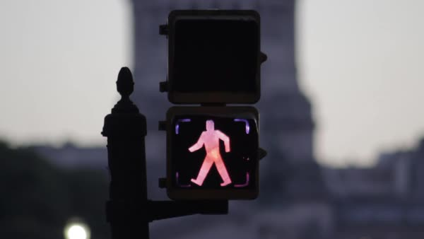 Pedestrian crosswalk lights changing from walk signal to stop signal Royalty-free stock video