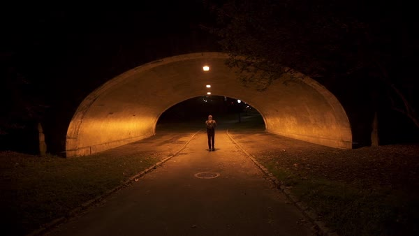 USA, New York, New York City, Central Park, pedestrian walking alone through tunnel at night Royalty-free stock video