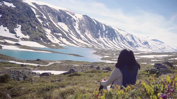 Hand-held shot of a woman enjoying view of a snowy mountain ridge Royalty-free stock video