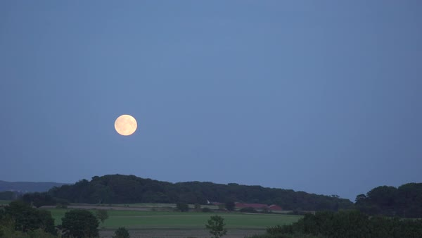 Timelapse of full moon rising over Danish countryside Royalty-free stock video