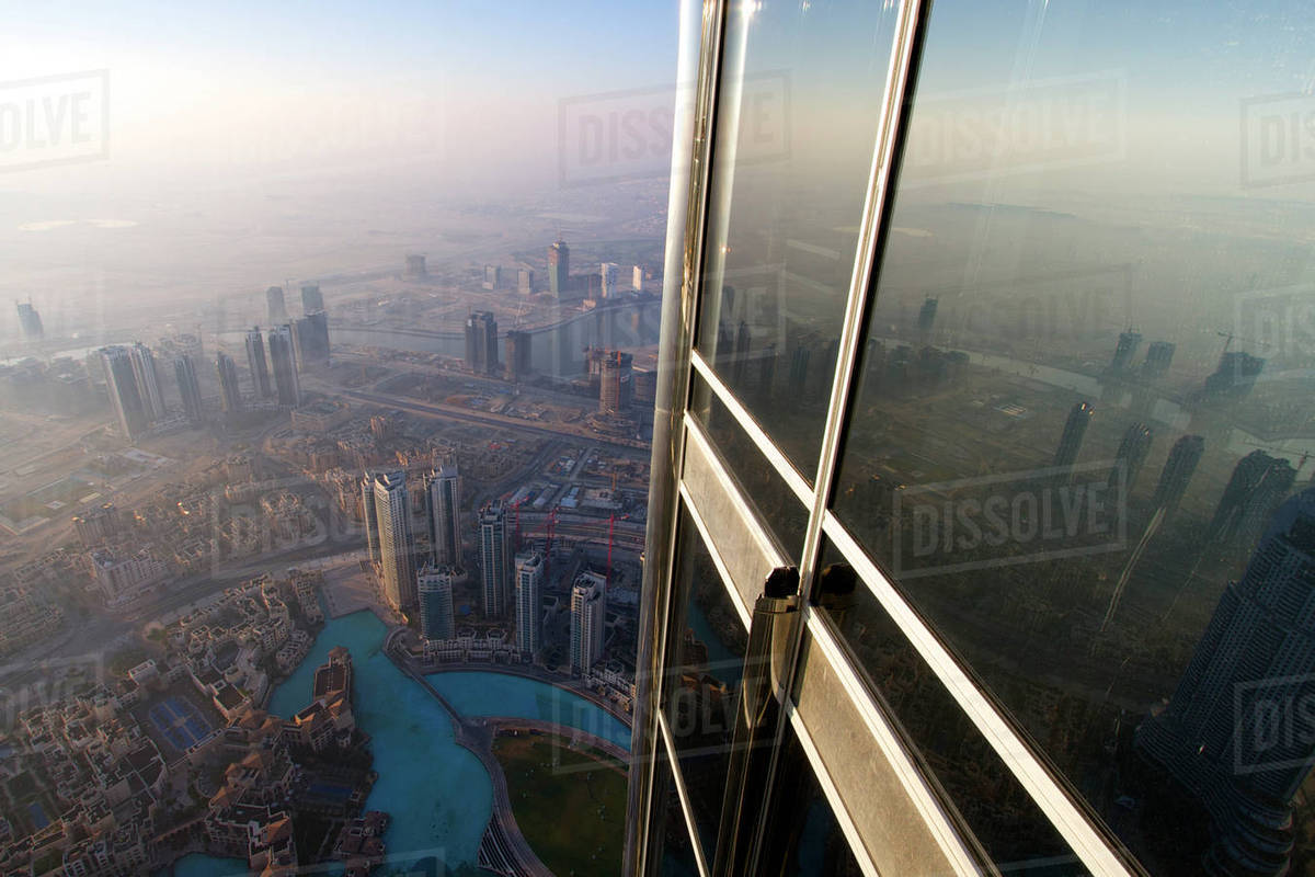 View from Burj Kalifa, the world's tallest building, Dubai at sunrise   United Arab Emirates (UAE) January 2010 stock photo
