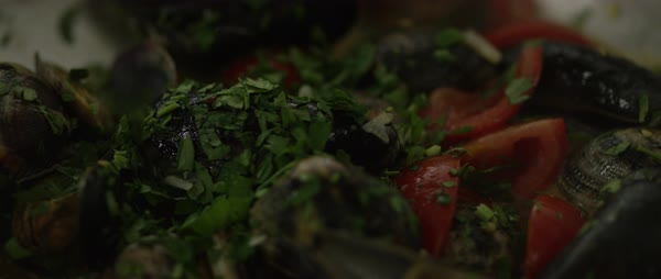 Hand-held shot of a person sprinkling herbs on tomatoes and mussels in a pan Royalty-free stock video