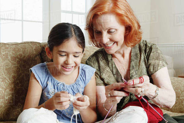 Grandmother and Granddaughter Knitting Royalty-free stock photo