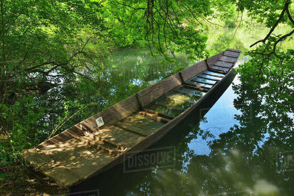 Boat, Taubergiessen Nature Reserve, Baden Wurttemberg, Germany Royalty-free stock photo