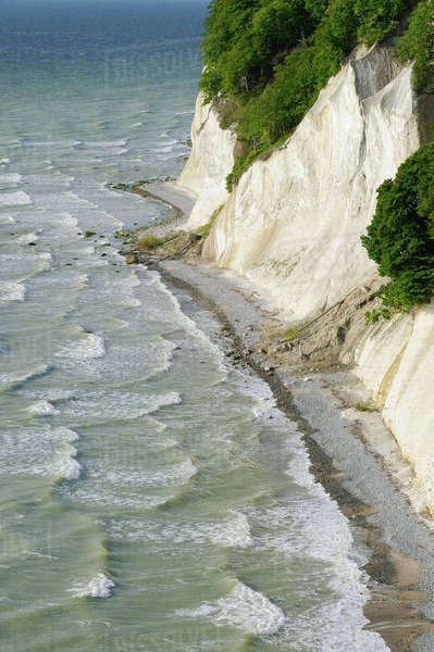 Chalk Cliffs and Coastline, Jasmund National Park. Ruegen Island, Mecklenburg-Vorpommern, Germany Royalty-free stock photo