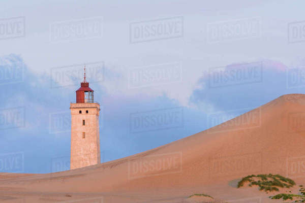 Lighthouse and Dunes at Dawn, Rubjerg Knude, Lokken, North Jutland, Denmark Royalty-free stock photo