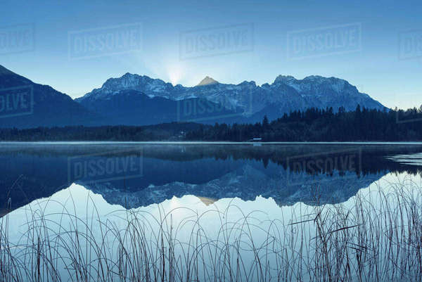 Karwendel Mountains Reflected in Lake Barmsee, Krun, Upper Bavaria, Bavaria, Germany Royalty-free stock photo