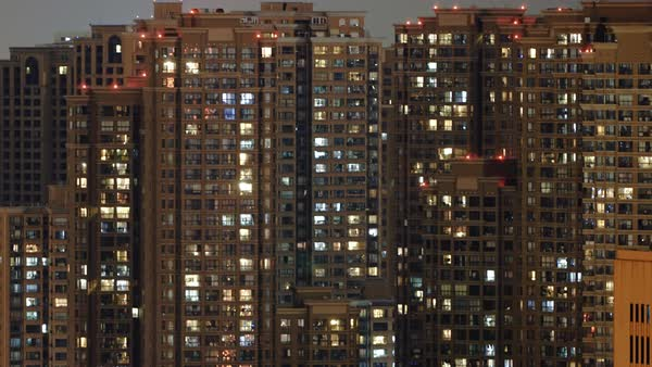 Timelapse of apartment building at night Royalty-free stock video