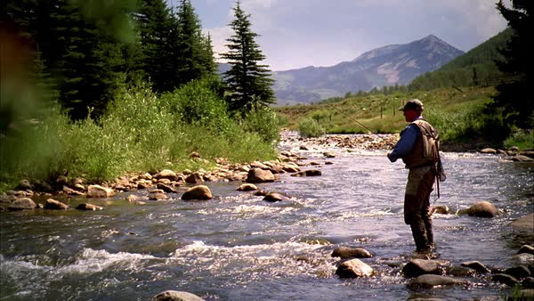 A man fishing in a mountain stream for trout with his back to camera. Royalty-free stock video