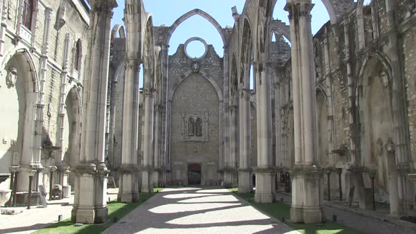 Carmo Church ruins in Lisbon, Portugal Royalty-free stock video