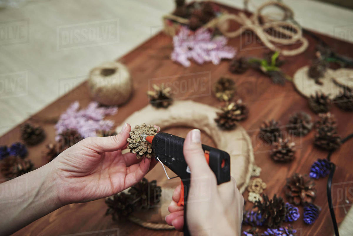 Making Christmas wreath to decorate the room Royalty-free stock photo