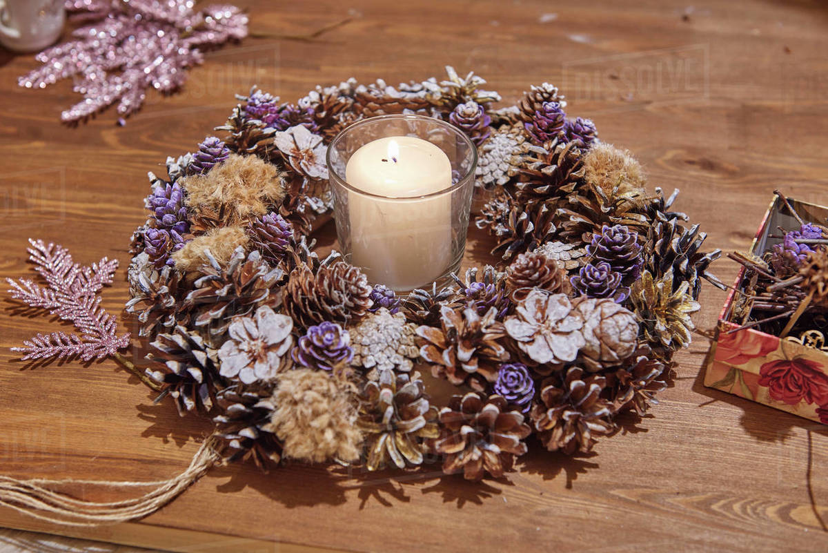 Christmas, Advent Decorative Wreath Candle Decoration. In a burning ca Royalty-free stock photo