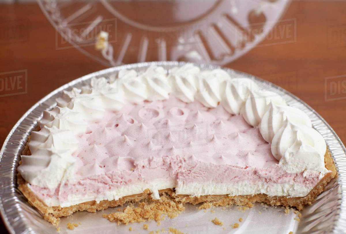 Half of a Frozen Strawberries and Cream Pie Royalty-free stock photo