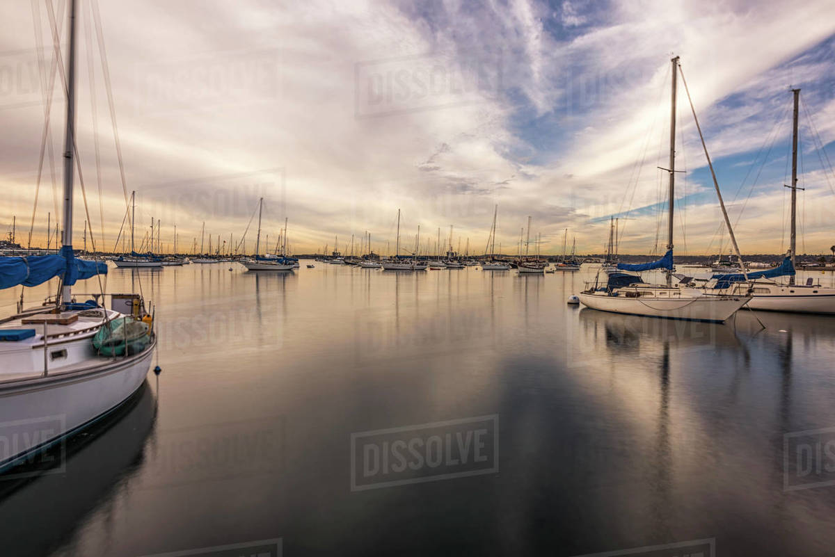 San Diego Harbor on a December morning. Royalty-free stock photo