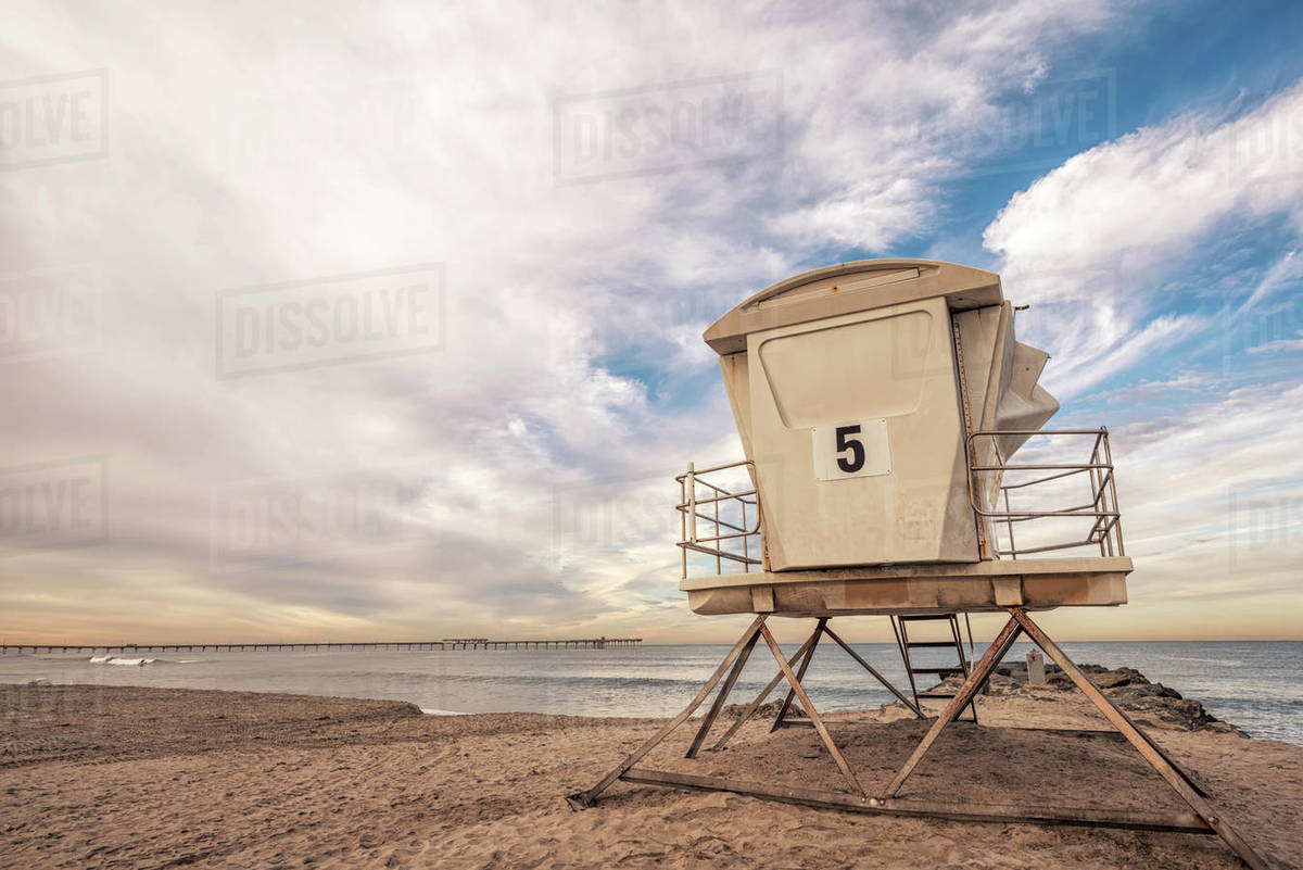 Lifeguard tower at Ocean Beach on a December morning. Royalty-free stock photo