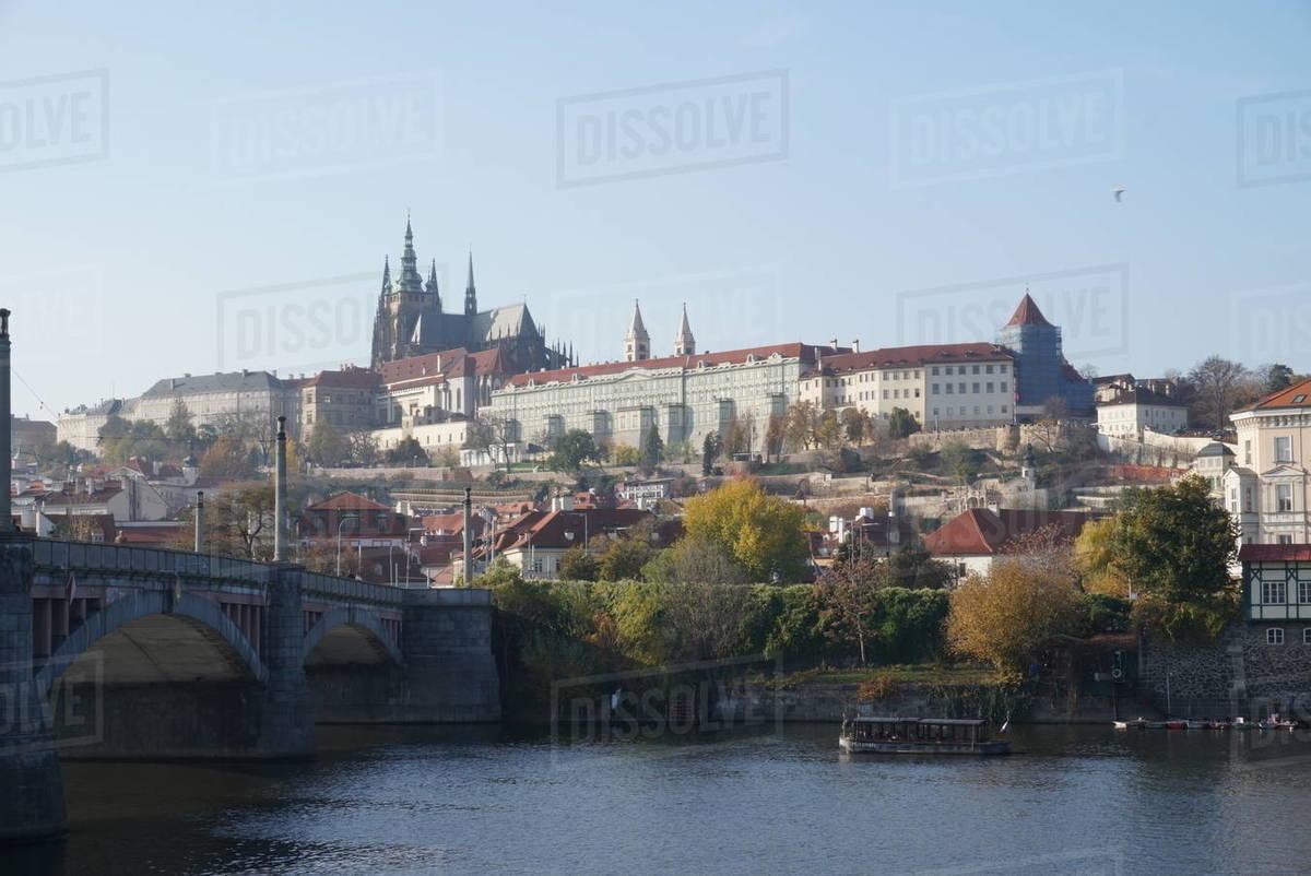 Prague castle against cloudy sky Royalty-free stock photo