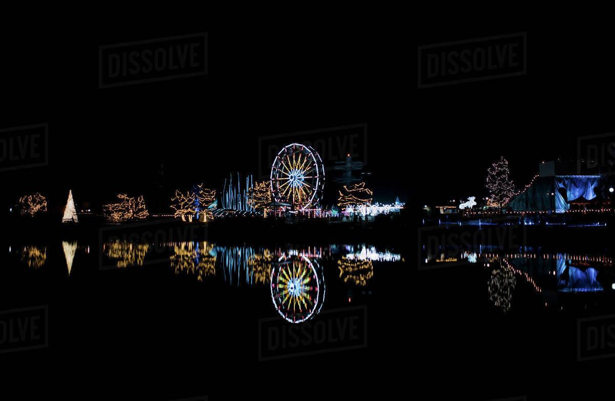 Theme park in lights, city skyline lights Royalty-free stock photo