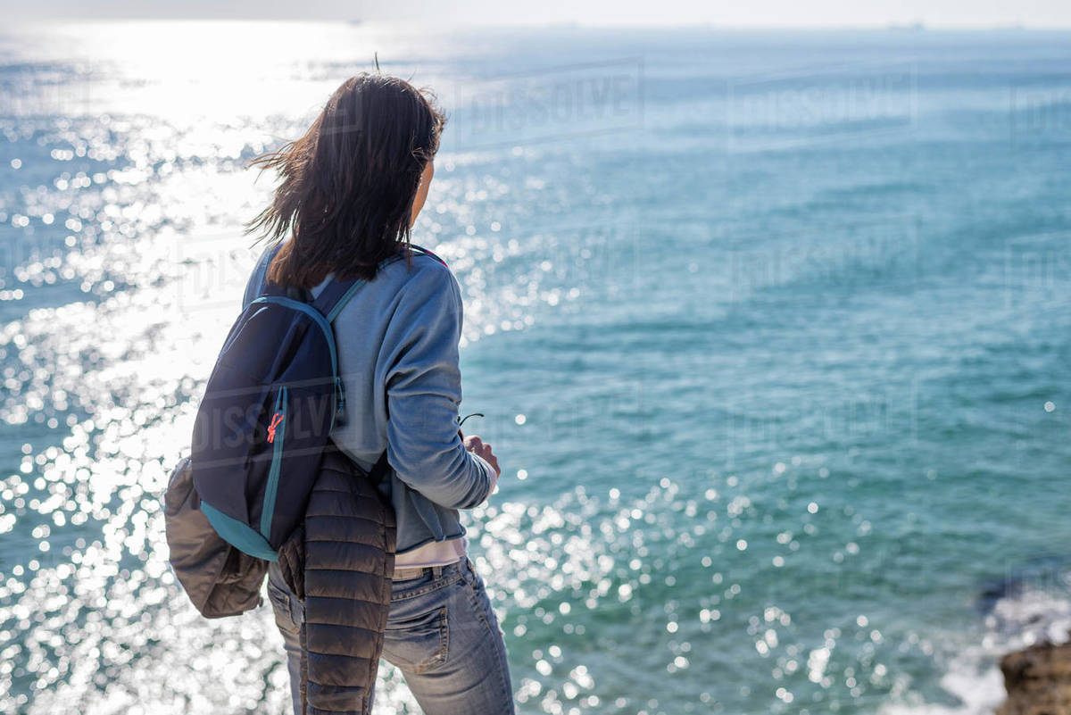 Rear view of a woman standing while contemplating the sea view Royalty-free stock photo