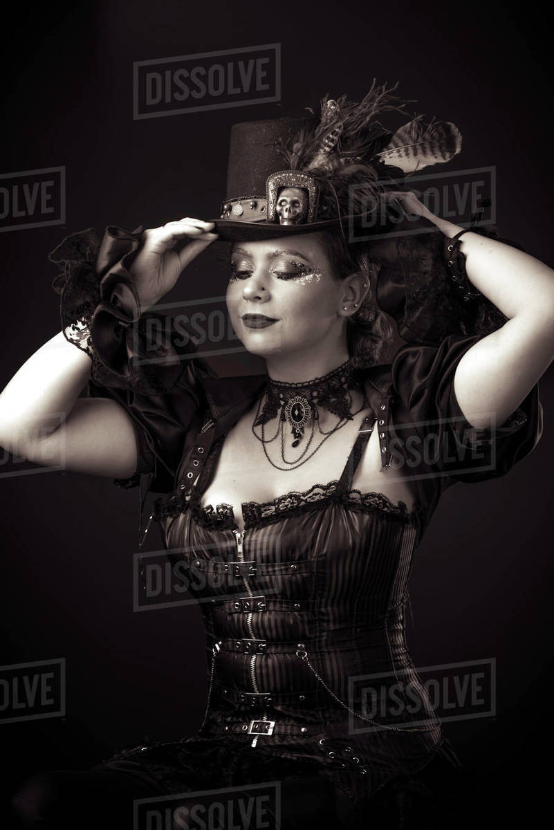 Emotional Portrait of Young Woman in Steampunk or Retro style. Royalty-free stock photo