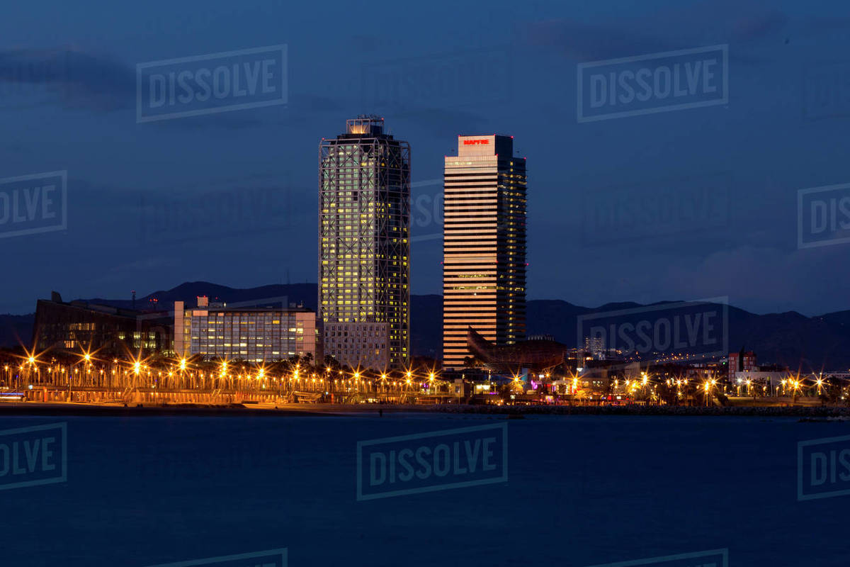Mapfre Towers reflecting last afternoon lights Royalty-free stock photo