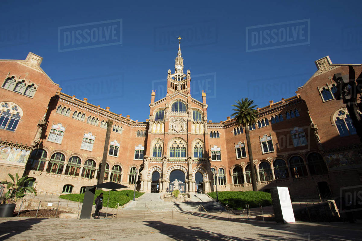 Modernist architecture in Sant Pau Hospital Royalty-free stock photo